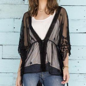 Francesca's Black Lace Tie Sheer Boho Kimono